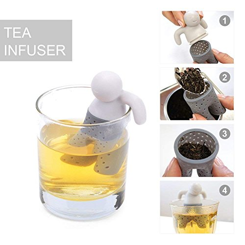 BPA-Free Silicone Animal Funny Tea Infuser for Loose Leaf Tea Strainer,Set of 5 Tea Strainers Handle Stainless Packed in Box for Travel Mug Bottle by Free Walker (Image #1)