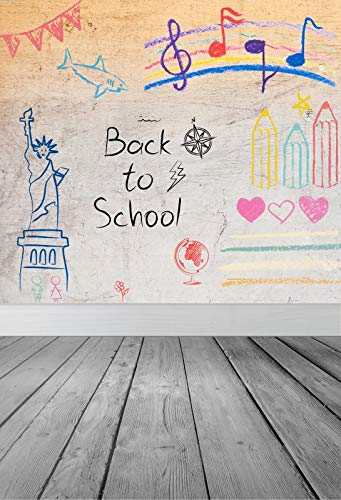 Baocicco 6x9ft Back to School Theme Backdrop Vinyl Photography Background Colourful Chalk Drawing Statue of Liberty Pattern Wood Floor Children Kids Party Photo Shooting Studio Props