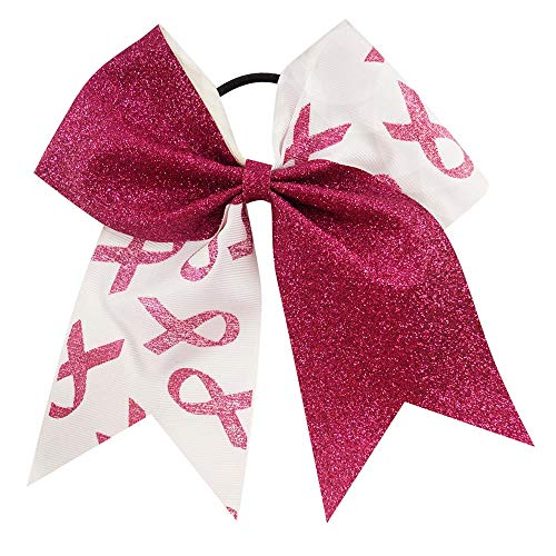 (CN 7 Inch Jumbo Breast Cancer Awareness Cheerleader Bow Print Grosgrain Ribbon Hair Bows With Elastic Tie for)