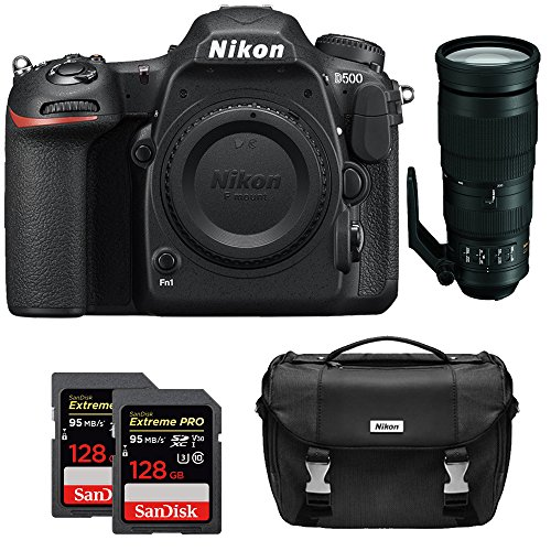Nikon D500 CMOS DX DSLR Camera w/ 4K Video (Body) + 200-500mm f/5.6E ED VR AF-S NIKKOR Zoom Lens + 2x Lexar 64GB Professional 1000x SDHC/SDXC Class 10 Memory Card + Deluxe DSLR Camera Bag