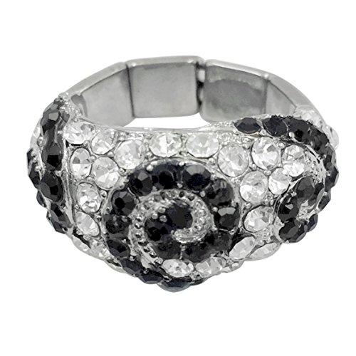 Gypsy Jewels Large Abstract Rhinestone Statement Big Stretch Cocktail Ring (Black & Clear -