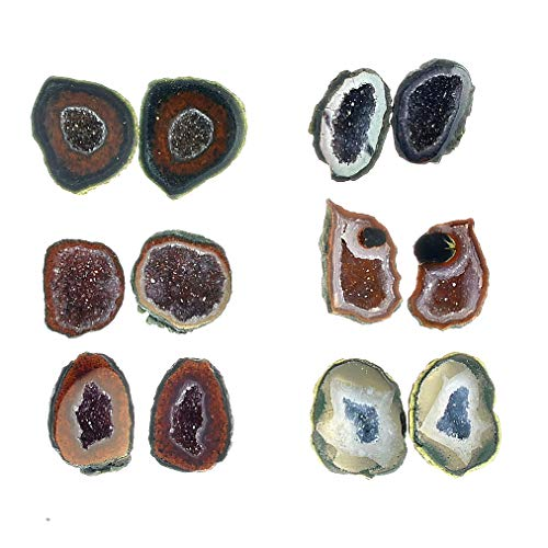 Fantasia Materials: 6 Pairs of Mexican Tabasco Geodes - Avg 1/4
