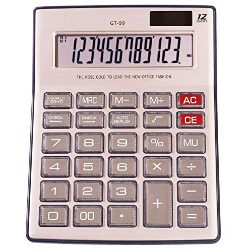 Calculator,12 Digit Solar Calculator, Standard Function Electronics Desktop Calculator,Big ButtonLarge LCD Display,Handheld for Daily and Basic Office Calculators(Rose Gold)