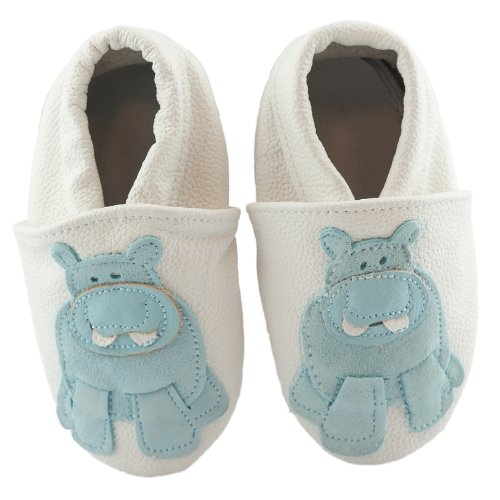 SmileBaby Premium Leder Lauflernschuhe für Jungen und Mädchen Krabbelschuhe Babyschuhe mit verschiedenen Motiven Weiß Hippo