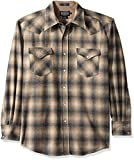 Pendleton Men's Long Sleeve Button Front Classic-fit Canyon Shirt, Oxford Grey/Tan Ombre-31942, XL