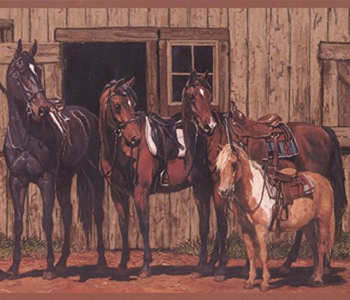 Village Stable (Horses by Stables Village Wallpaper Border Retro Design, Roll 15' x 9