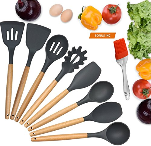 9-Piece Silicone Kitchen Utensils BONUS Silicone Pastry Brush Kitchen -Heat Resistant Cooking Utensil Set with Natural Hard Wood Handle, Non-Stick, BPA Free (Dark Gray)