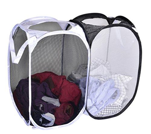 Lifegifts Double hamper Lightweight Pop-up Folding Breathable Mesh Portable Storage Laundry Basket Hamper Reinforced (Portable Hamper)