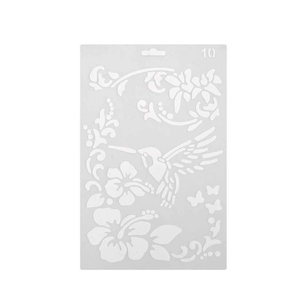 Asiproper Flower Bird Hollow Ruler Template DIY Photo Album Drawing Tool