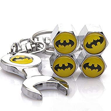 D&R Wrench Keychain Chrome Tire Valve Stem Caps With Batman