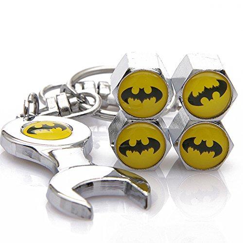 D&R Wrench Keychain Chrome Tire Valve Stem Caps With Batman (Auto Accessories Batman)