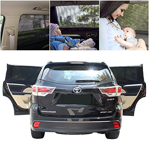 Lizber 2 PCS Universal Car Window Shade Auto Sun Shade Breathable Mesh UV Resistant Max Protection for Baby, Passenger - Fits most SUV Truck by