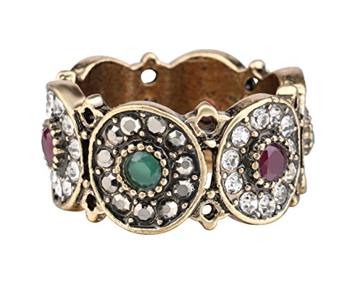 Turkey Rings For Women Hollow Vintage Wedding Ring Jewelry Ancient Gold Color Colorful Resin Stone (8) by Urban Lipi