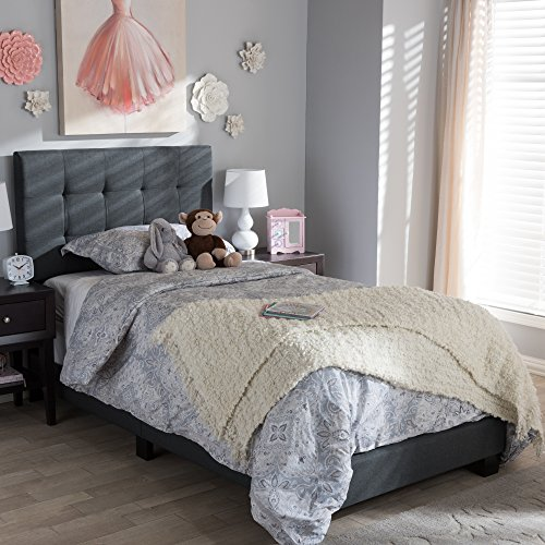 Baxton Studio Brookfield Upholstered Twin Panel Bed in Charcoal Gray