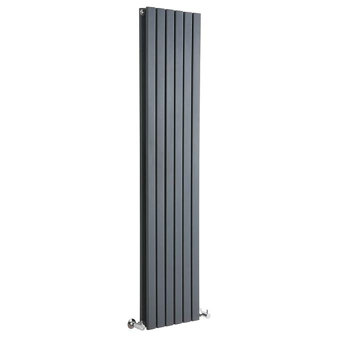 Hudson Reed TDRAFP2 - Radiador Calentador Decorativo Plano Diseño Vertical Doble - Acero - Acabado Gris Antracita - 1780mm x 354mm - 1137 Vatios ...