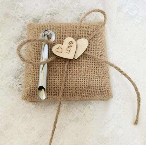 Dollbling Rustic Vintage Retro Wood Love Heart Burlap Wedding Flower Girl Basket + Ring Pillow +Guest Book + Pen Holder Set by Dollbling (Image #2)