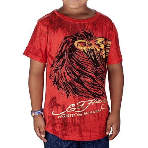 Ed Hardy Kids Boys Marble Lion T-Shirt -Red - Large