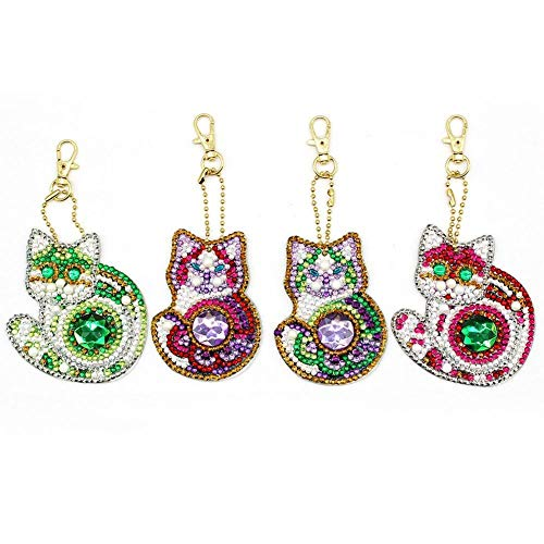 Diamond Painting Keychain Mosaic Making Kits, Full Drill 5D DIY Diamond Painting Pendant Decor Accessory Cute Cat 4 Pack by WYQN (Plate Fur Item Code)