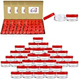(Quantity: 500 Pieces) Beauticom 5G/5ML Round Clear Jars with RED Lids for Scrubs, Oils, Toner, Salves, Creams, Lotions, Makeup Samples, Lip Balms - BPA Free