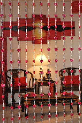 (Asian Home Beautiful Acrylic Beaded Curtain - Red Heart)