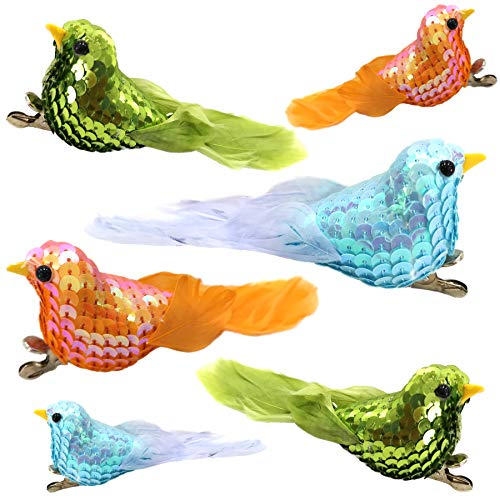 (Athoinsu 6pcs Sequined Artificial Robin Feather Birds Christmas Tree Decoration Craft Clips Beaded Nice Gifts for Xmas Ornaments (Styel 3))