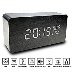 Alfheim digital alarm clock wooden LED light,desk clock with 3 brightness adjustable,dual power,3set of alarm, voice control,wood cube (Black)