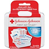 Johnson & Johnson Red Cross First Aid-to-Go Mini First Aid Kit, 12 Count, Pack of 48