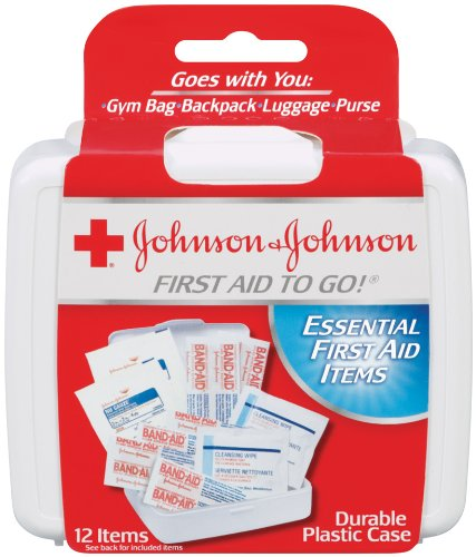 Johnson & Johnson Red Cross First Aid-to-Go Mini First Aid Kit, 12 Count, Pack of 48 by J&J Red Cross