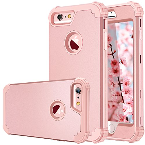 iPhone 6S Case,iPhone 6 Case,Fingic 3 in 1 Hybrid Case for Women Girls Anti Slip Full-Body Shockproof Rugged Cover Hard PC & Soft Silicone Protective Case for iPhone 6/6S (4.7 inch),Rose Gold