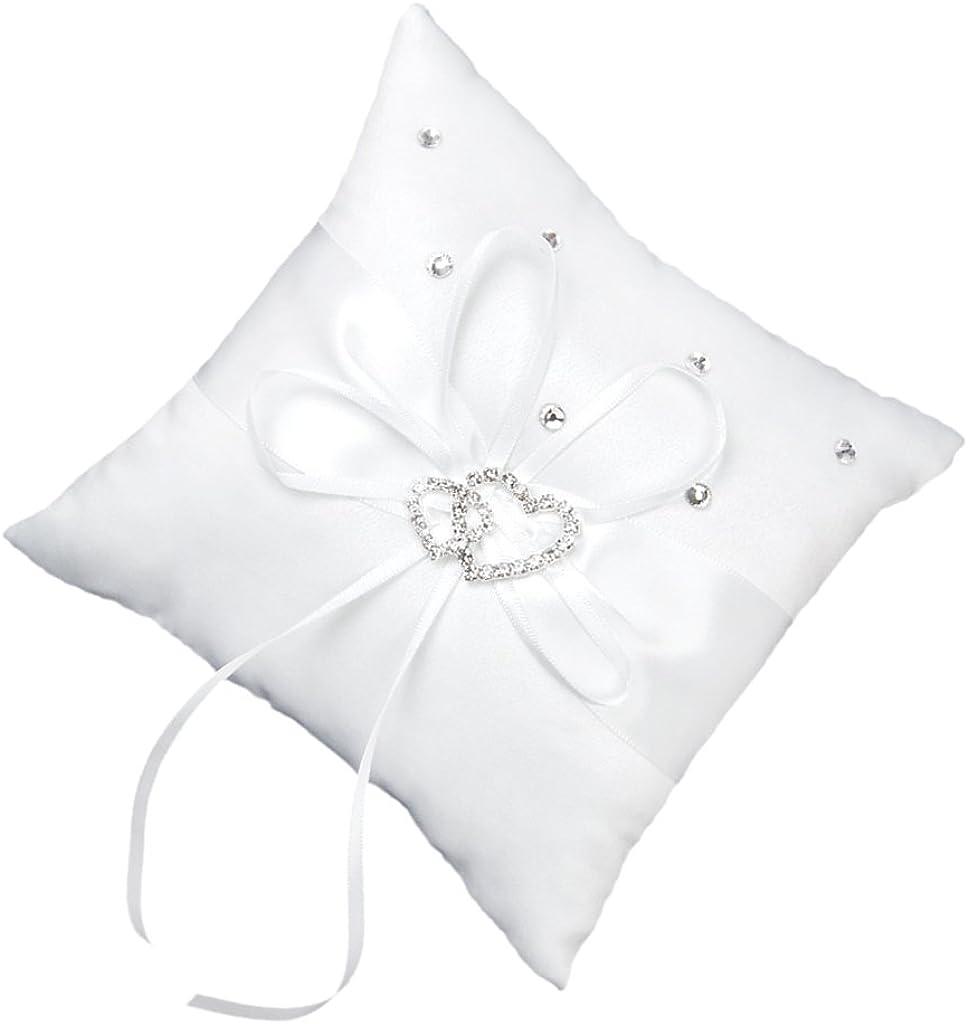 Almohadilla para anillos de boda, de Bluelans®. Diseño con 2 corazones de diamantes de imitación. Blanca, raso, Blanco, 15 x 15 cm