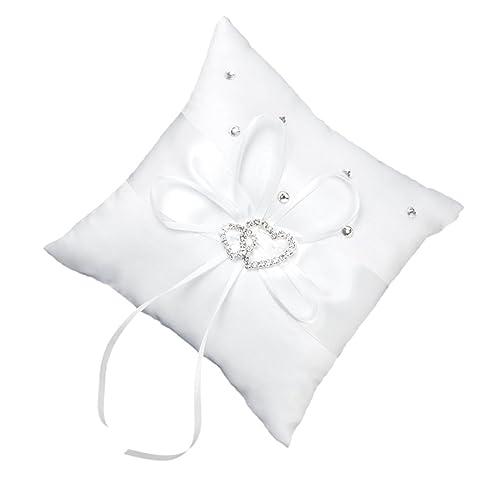 TOOGOO(R)) Almohada de Anillo de Boda 15 x 15 cm Blanco Doble Corazon Cristal Diamante de Imitacion