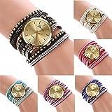 Bracelet Watch Women,BCDshop Vogue Multilayer Wrap Rhinestone Leather Bracelet Quartz Wrist Watch