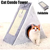 Cat Condo,Cat Tower with a Cat Scratch Pad and Bell-Ball,Scratcher with Catnip,Scratching Posts, Easy to Fold and Store Great for Kittens and Small Cats Indoor/Outdoor