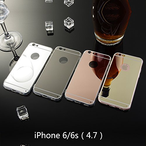 Coque pour iPhone 6 / iPhone 6s 4.7 inch, Moonmini® Ultra Mince PC Mirror Reflection Effect pour TPU Frame Housse Coque Or rose