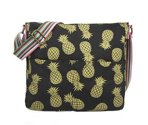 Pineapples Large bag Messenger Large Black Gold Messenger bag with with Black Pineapples Large Gold BwOBFgqf