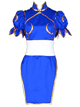 b654cb8a6 Amazon.com: YuanCos Chun-Li Cheongsam Dress Halloween Blue Cosplay Costume:  Clothing