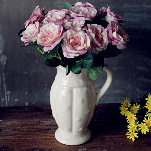 D'vine Dev Country Plum Blossom Milk White Ceramic Pitcher Vase Decorative - 10'' Tall - Ideal Home Décor Vase or Great Gift for Home Warming, Weddings, Special Events and Flowers by D'vine Dev