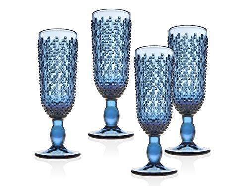 Champagne Flute Beverage Glass Cup Alba by Godinger - Blue - Set of 4