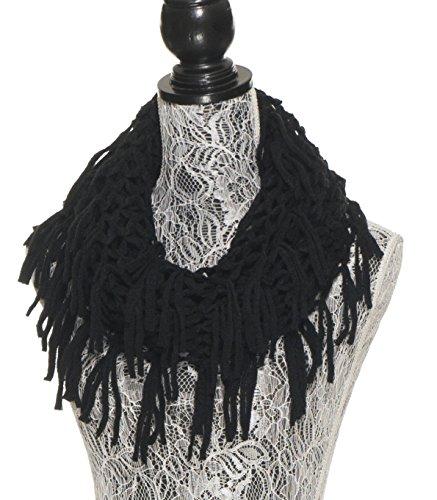 Winter Scarfs for Women - Fashion Warm Infinity Scarves with Fringe,Tassel - Crochet Cable Knit Scarf - Black Fishnet (Crochet Neck Scarf)