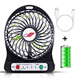 Rasse Portable Fan Rechargeable Mini Fan Portable Fan, USB Fan Personal Fan Desktop Table Cooling Fan 3 Speeds Rechargeable Operated Battery Fan Office Outdoor Hiking Camping Black