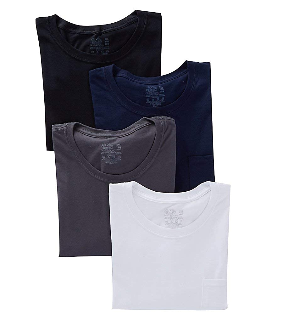 4 Pack 4P30BGX Fruit of the Loom Extended Size 100/% Cotton Pocket T-Shirts