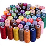 WHITE POPCORN SPEED 30 Assorted Colour Polyester Sewing Thread Spools 250 Yards Each with Needles and Soft Measuring Tapes