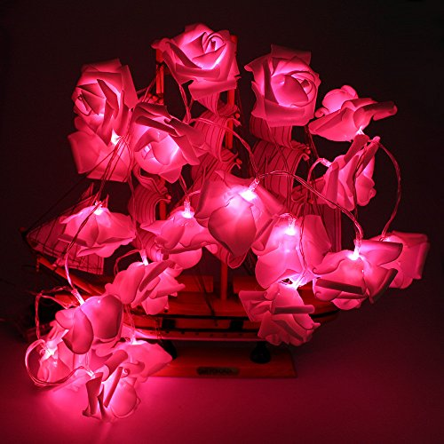 Avanti 20 Led Battery Operated Premium String Romantic Flower Rose Fairy Light Lamp Outdoor for Valentine's Day, Wedding, Room, Garden, Christmass, Patio, Festival Party Decor(Red) (Flower Red Lights Christmas)
