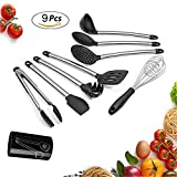 9 Pieces Kitchen Cookware-Silicone & Stainless Steel Kitchen Cooking Utensil Tool Set, Essential Cooking Tools, Kitchen Tools Set-Spoons, Spatula, Ladle, Turner, Food Tongs, Whisk,Stainless Steel Cook