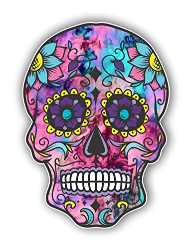 Vinyl Junkie Graphics Sugar Skull Sticker Dia de Los Muertos Decal Mexican Day of The Dead Stickers for Notebook car Truck Laptop Many Color Options (Cotton Candy)