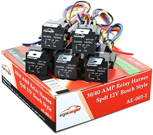 5 Pack  40 Amp Relay Harness Spdt 12v Bosch
