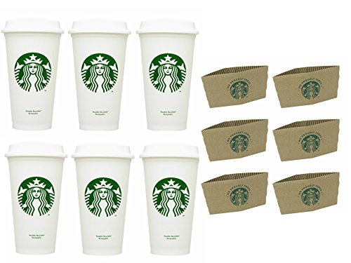 Starbucks Travel Coffee Cup Reusable Recyclable Spill-proof BPA Free Grande 16 Oz Pack of 6 with Sleeves Bundle