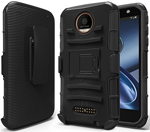Moto Z Force Case, Moto Z Force Droid Case, NageBee [Heavy Duty] Armor Shock Proof Dual Layer [Swivel Belt Clip] Holster with [Kickstand] Combo Rugged Case for Motorola Moto Z Force Droid- Black