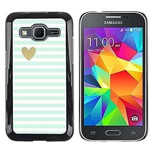 Be Good Phone Accessory // Dura Cáscara cubierta Protectora Caso Carcasa Funda de Protección para Samsung Galaxy Core Prime SM-G360 // Green Mint Gold Heart Love Stripes White