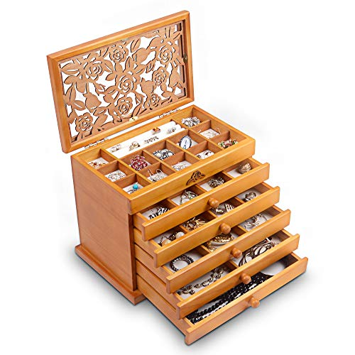 Real Wooden Jewelry Case in Dark Brown by Kendal